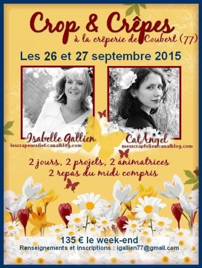 Affiche de la Crop d'Isabelle Gallien et CatAngel les 25 et 26 septembre 2015 à la crêperie de Coubert (77)